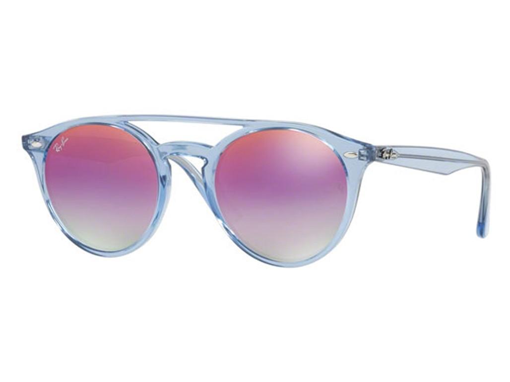 72ce3f950b6ac Óculos de Sol Ray-Ban Redondo Armação Acetato Azul Lente Rosa Espelhada Sem  Plaquetas 0rb4279 ...