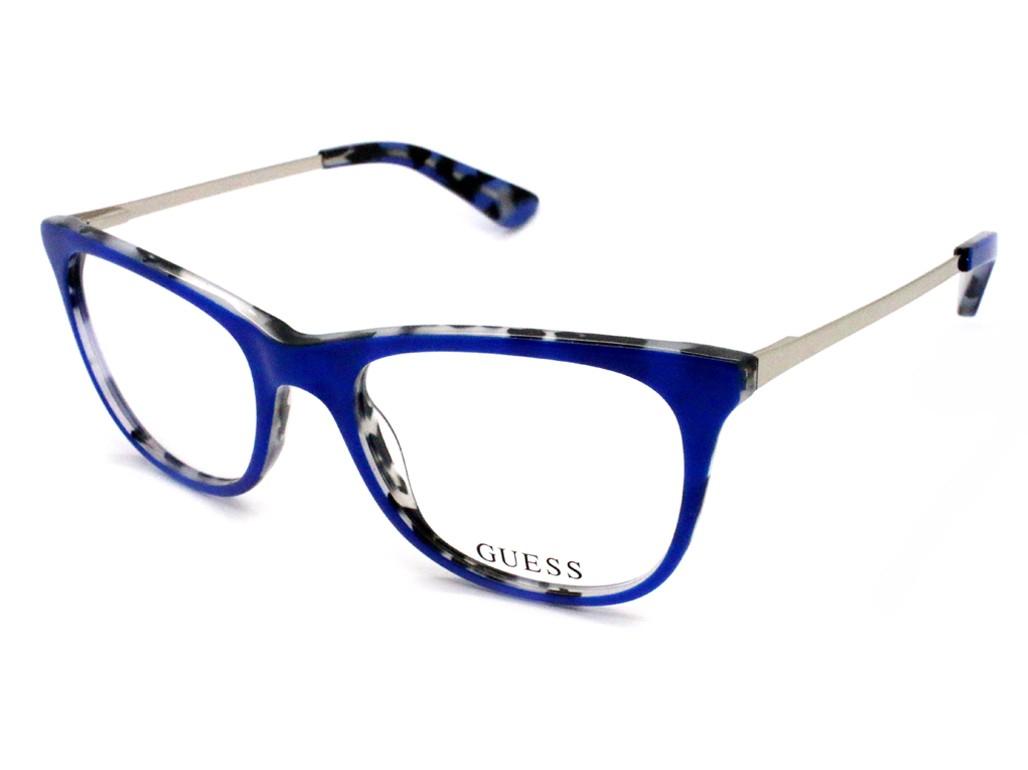 00f0aa9d22e24 Óculos de Grau Guess Gatinho Acetato Azul Aro Fechado Sem Plaquetas  gu2532 50092 ...