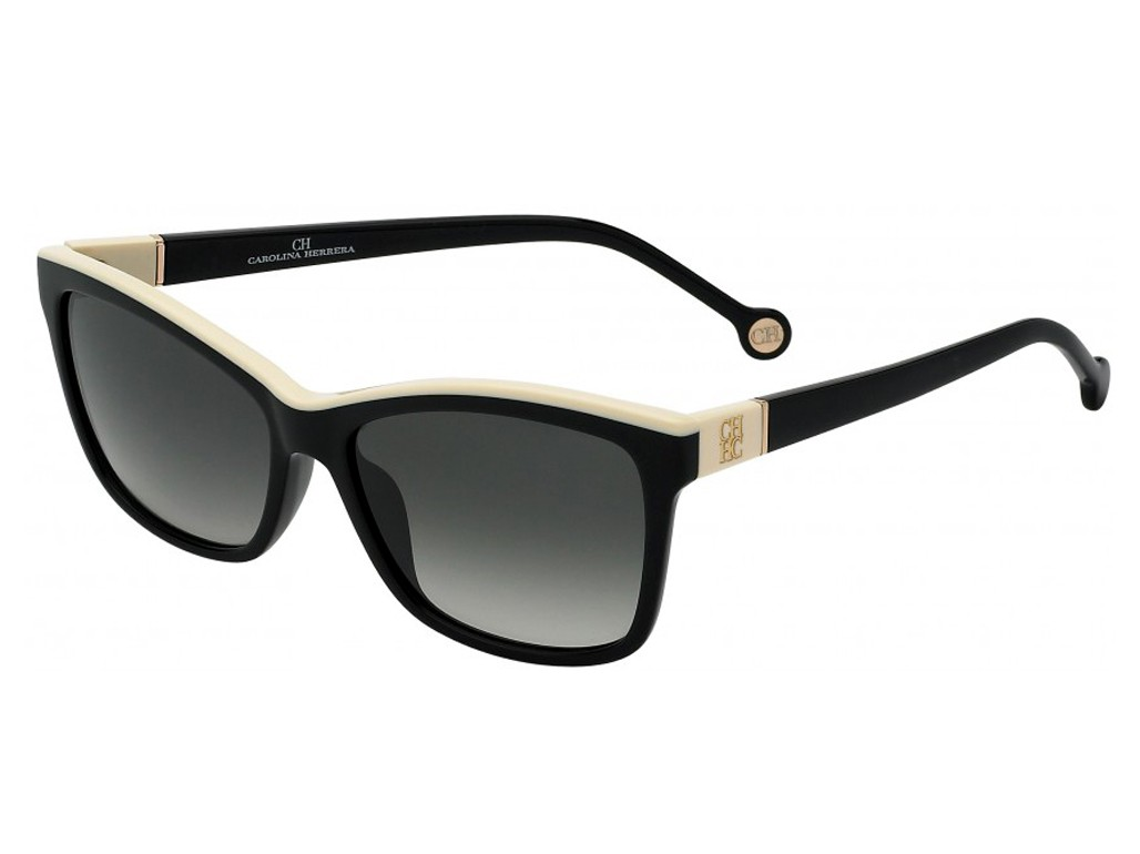 a1c473bf3b22a Óculos de Sol Carolina Herrera Preto e Branco Feminino Authentika Joias