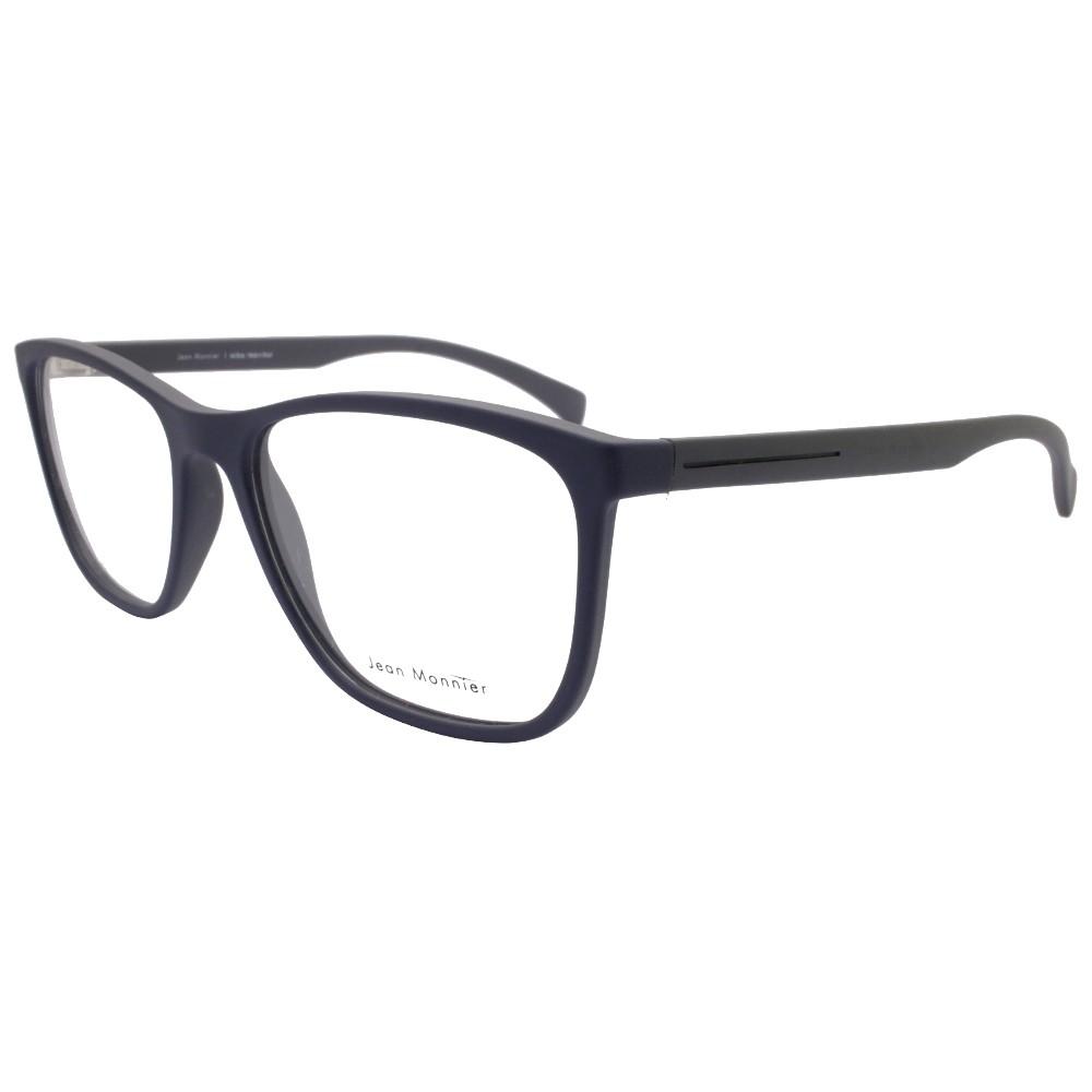 9b018a20c5ff0 Óculos de Grau Jean Monnier Quadrado Acetato Azul Aro Fechado Sem Plaquetas  0j83172 f626 55 ...