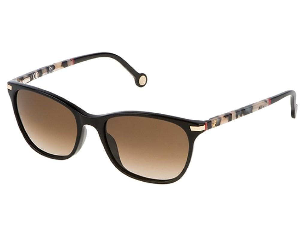 7d311cd59b954 Óculos de Sol Carolina Herrera Quadrado Armação Acetato Preta Lente Marrom Degradê  Sem Plaquetas she652v540700