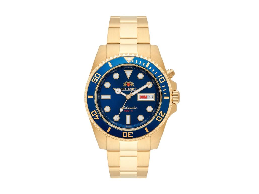 c85c018e362 Relógio Orient Automatic Dourado e Azul Masculino Authentika Joias