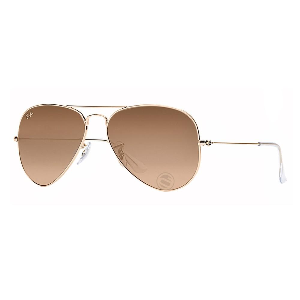 Óculos de Sol Ray-Ban Aviador Armação Metal Dourada Lente Marrom Comum Com Plaquetas  0rb3025l ... b855b9d783