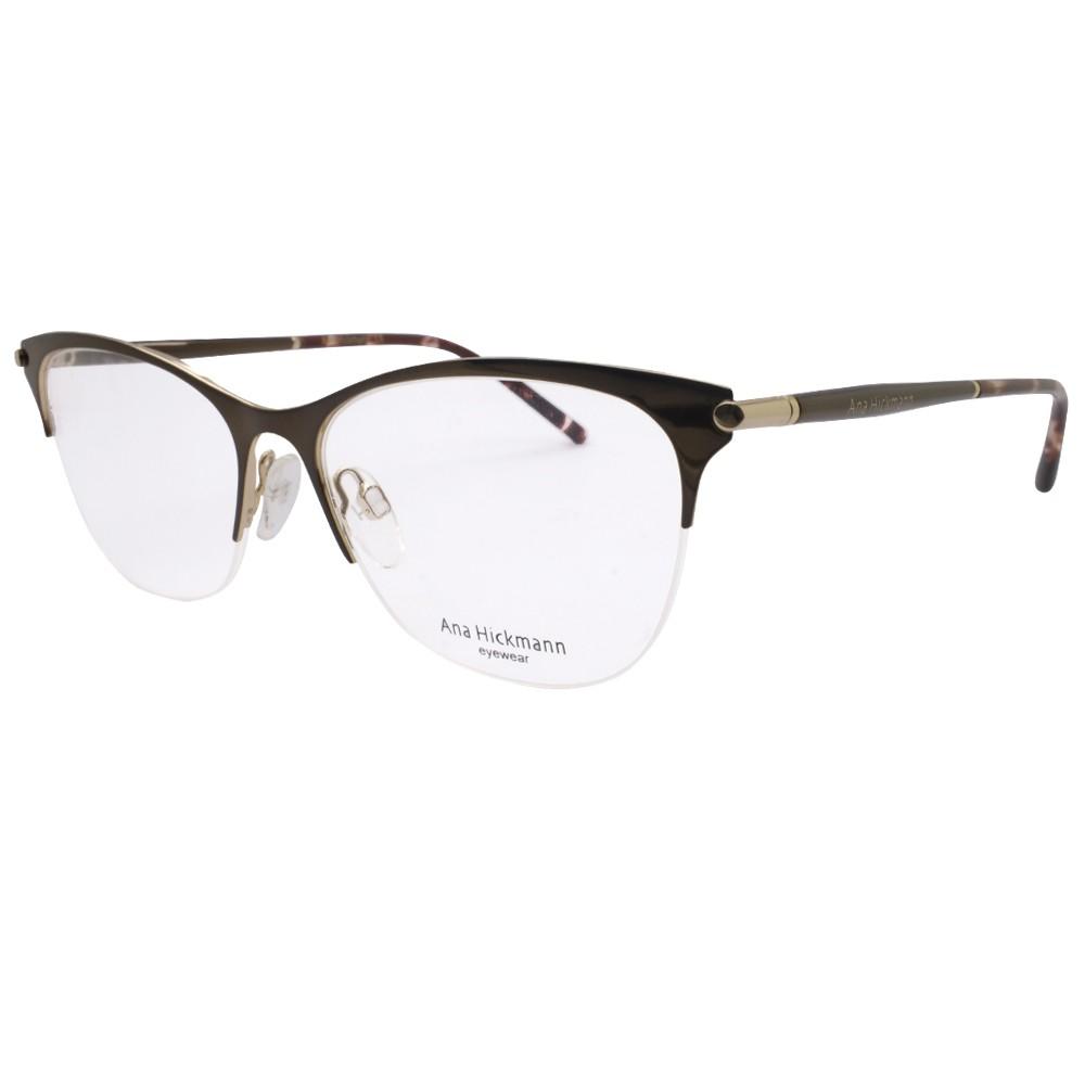 eea3c3a8394e6 Óculos de Grau Ana Hickmann Gatinho Metal Marrom Aro Aberto Com Plaquetas  ah1346 01a ...