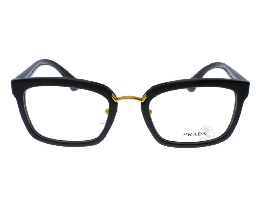 ... Óculos de Grau Prada Quadrado Acetato Preta Aro Fechado Com Plaquetas  pr09sv1ab1o153 1cd23a05e2