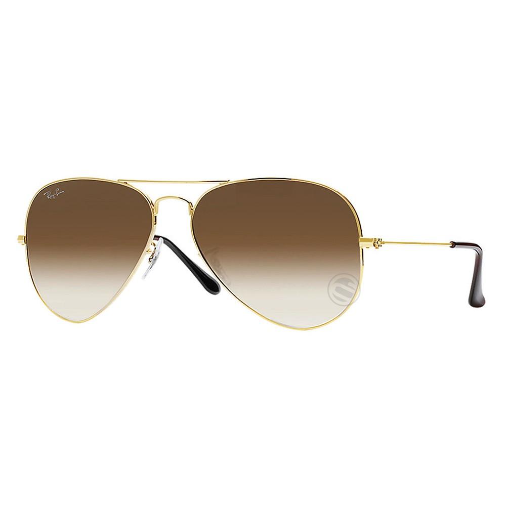 906e9ac89bd52 Óculos de Sol Ray-Ban Aviador Armação Metal Dourado Lente Marrom Degradê  Com Plaquetas 0rb3025l ...