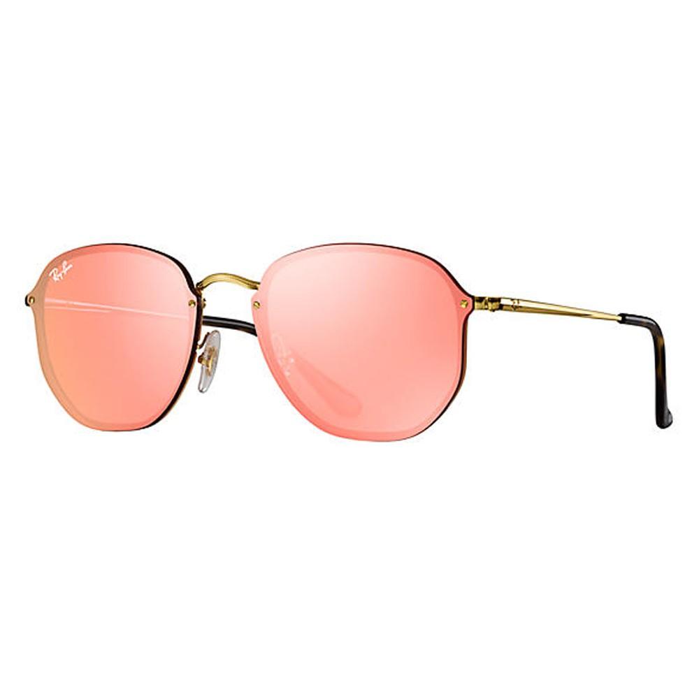 5a60b95468ac0 Óculos de Sol Ray-Ban Redondo Armação Metal Dourada Lente Rosa Espelhada  Com Plaquetas 0rb3579n