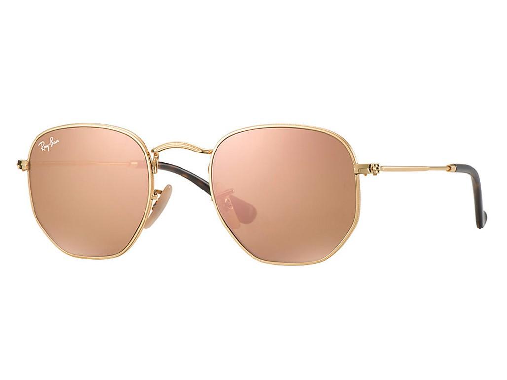 Óculos de Sol Ray-Ban Hexagonal Dourado e Rosa Espelhado Unissex ... 39819ef175