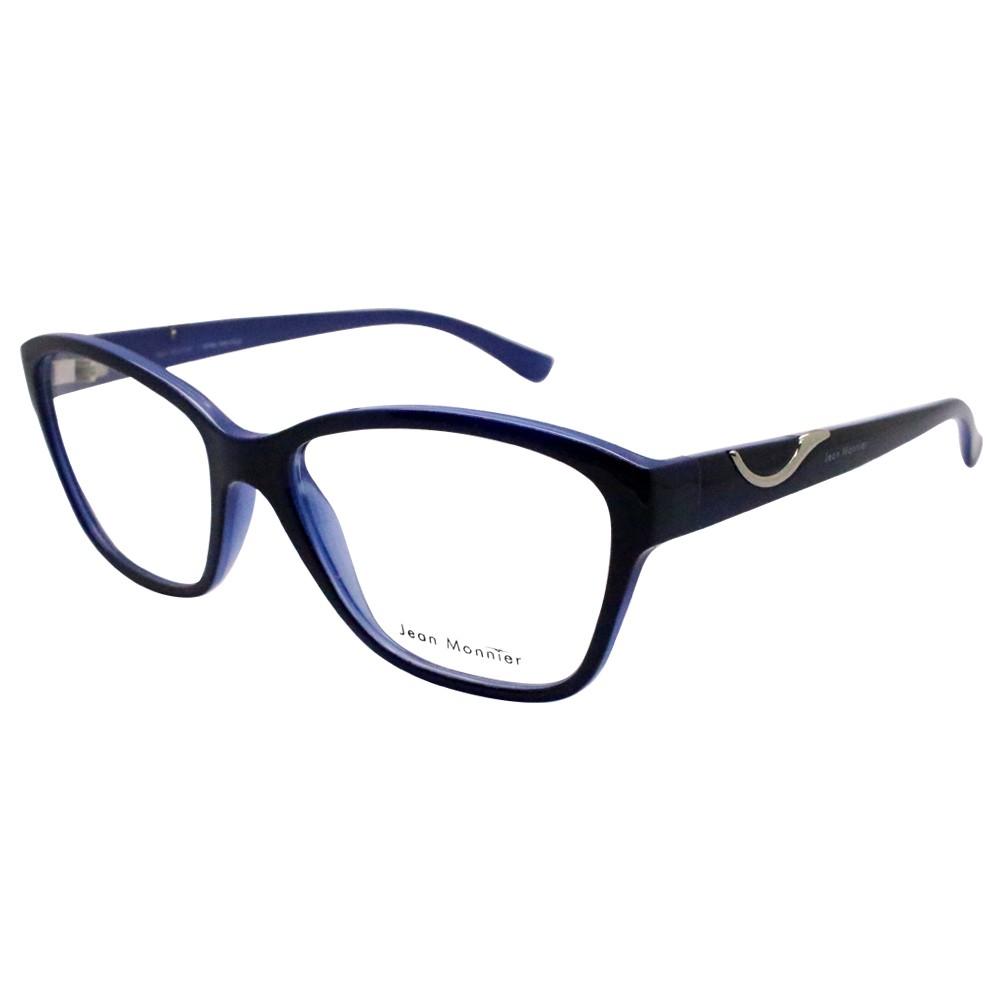 1e5842c73644c Óculos de Grau Jean Monnier Quadrado Acetato Azul Aro Fechado Sem Plaquetas  0j83156 e693 52 ...