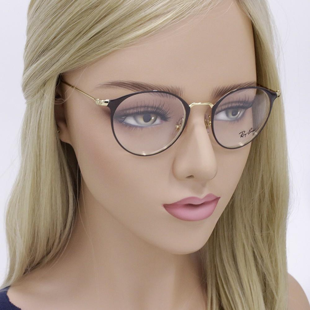 458d4c02f899b ... Óculos de Grau Ray-Ban Redondo Metal Marrom Aro Fechado Com Plaquetas  0rx6378 2905 49 ...