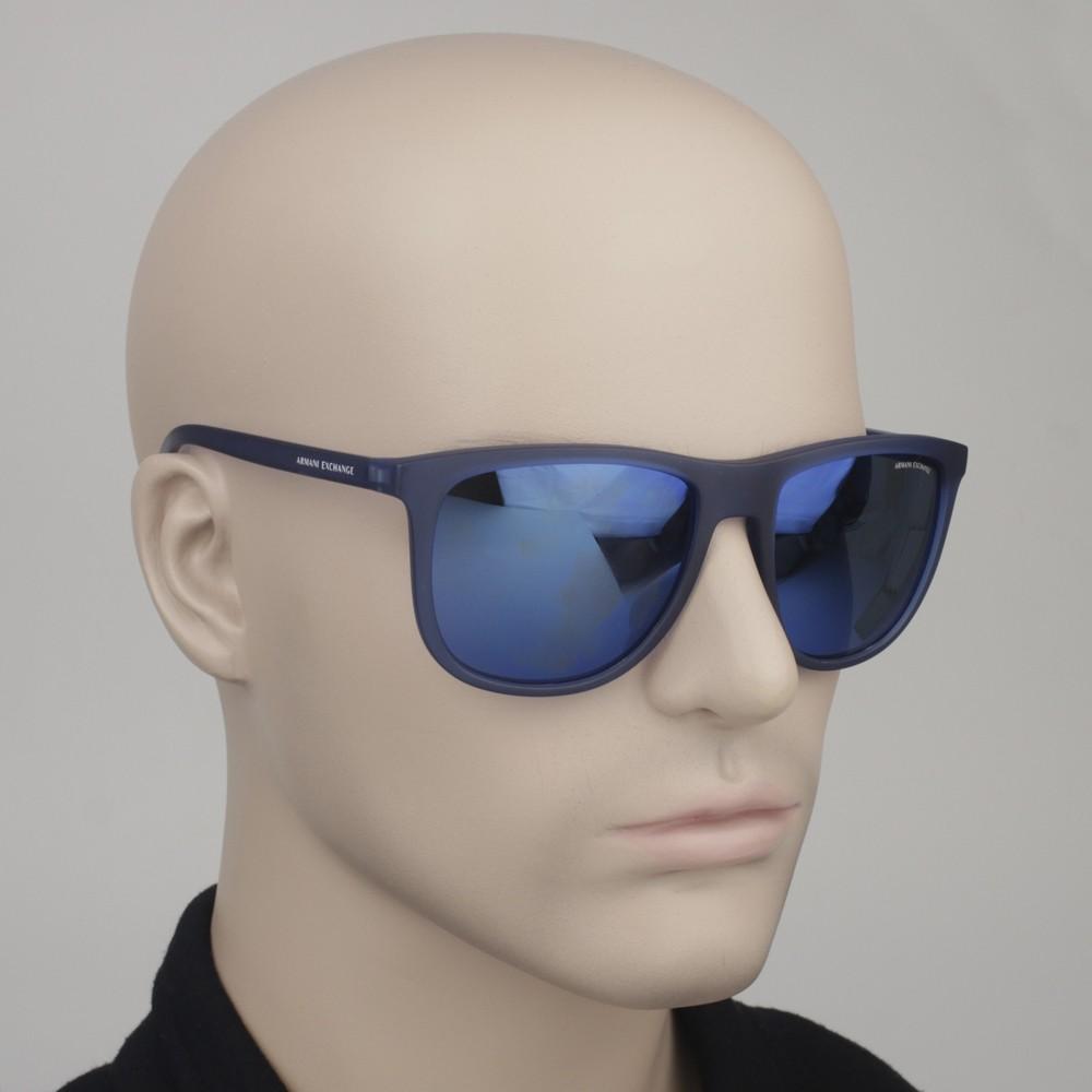 62a0a4293b9cb ... Óculos de Sol Armani Exchange Quadrado Armação Acetato Azul Lente Azul  Espelhada Sem Plaquetas 0ax4078s 82595556