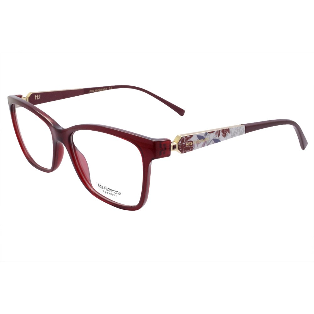 779ebca6843f2 Óculos de Grau Ana Hickmann Quadrado Acetato Bordô Aro Fechado Sem  Plaquetas AH6260 T01 ...