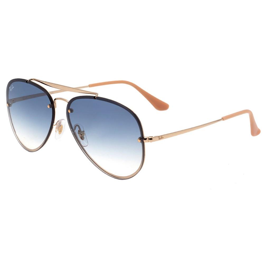 Óculos de Sol Ray-Ban Aviador Armação Metal Dourado Lente Azul Degradê Com  Plaquetas 0rbb3584n001 ... 0c20334f9e