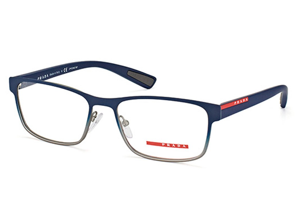 Óculos de Grau Prada Retangular Metal Azul Aro Fechado Com Plaquetas  0ps50gvu6t1o155 ae8a8c2738