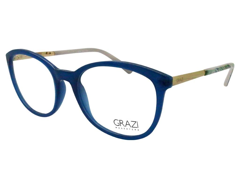 d6d3049dc6c1c Óculos de Grau Grazi Massafera Gatinho Acetato Azul Aro Fechado Sem  Plaquetas 0gz3024e38052