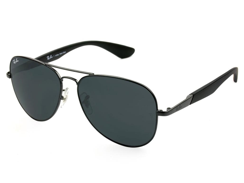 f9766468868f3 Óculos de Sol Ray-Ban Aviador Armação Metal Preta Lente Verde Comum Com  Plaquetas 0rb3554l