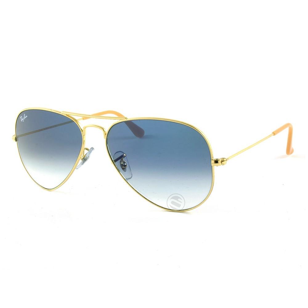 feb47cd6a4ddf Óculos de Sol Ray-Ban Aviador Armação Metal Dourado Lente Azul Degradê  0rb3025l001 3f55 ...