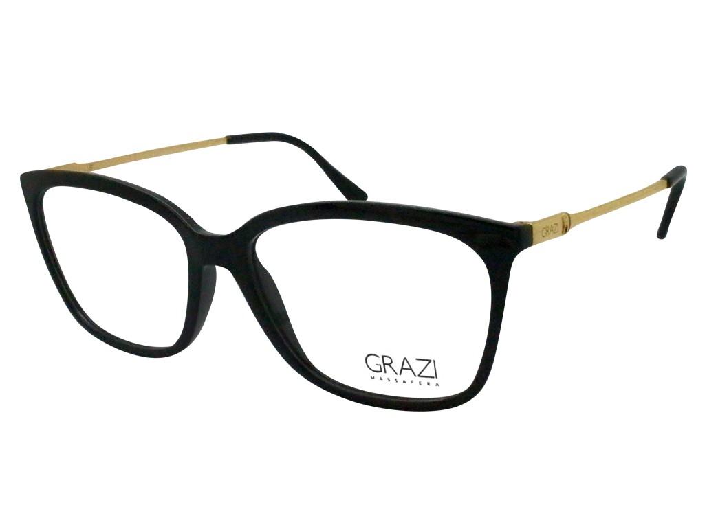 c69efd92aab5e Óculos de Grau Grazi Massafera Quadrado Acetato Preta Aro Fechado Sem  Plaquetas gz3016 d829 53 ...
