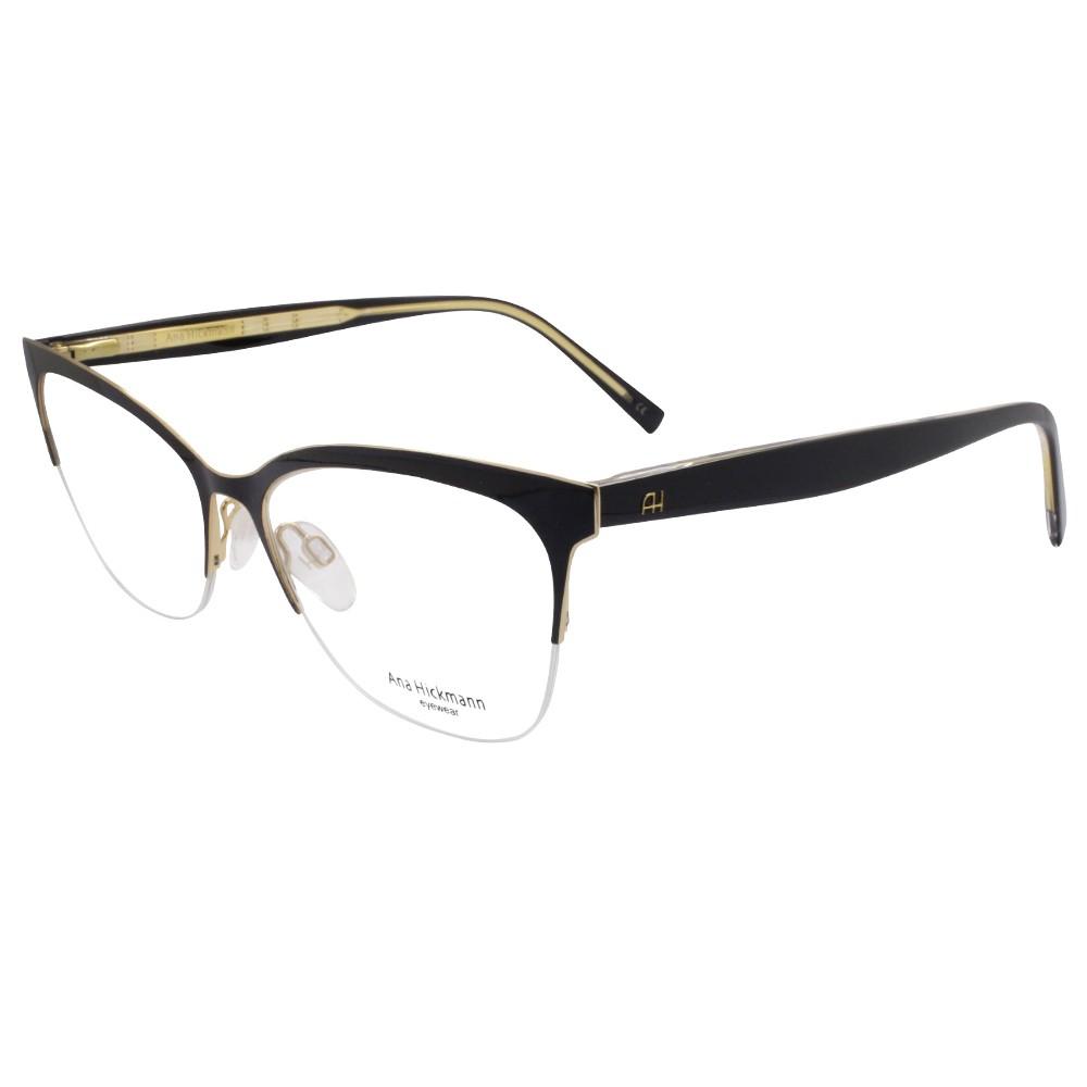 be9d7e710c656 Óculos de Grau Ana Hickmann Gatinho Metal Preta Aro Aberto Com Plaquetas  AH1349 09A ...