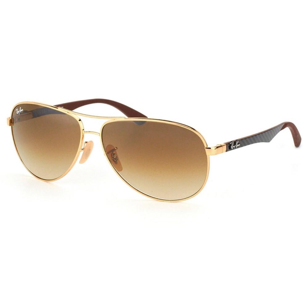 2c10dd1b0e563 Óculos de Sol Ray-Ban Aviador Armação Metal Dourado Lente Marrom Degradê  Com Plaquetas 0rb8313 ...