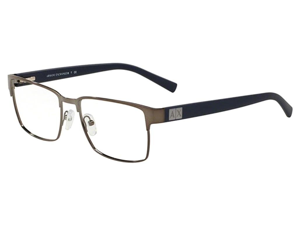 f181cfd57231b Óculos de Grau Armani Exchange Quadrado Metal Cinza Aro Fechado Com Plaquetas  0ax1019l608754