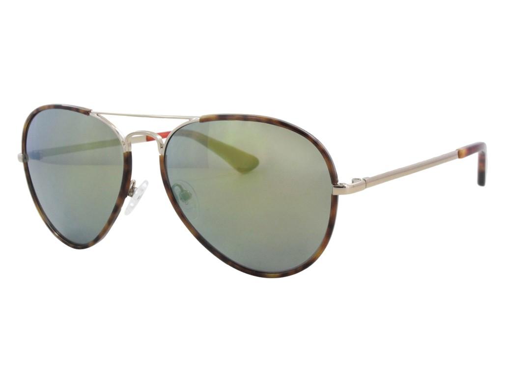 8de9b5a6637a8 Óculos de Sol Guess Aviador Armação Metal Tartaruga Lente Verde Espelhada  Com Plaquetas gu7416 5832q