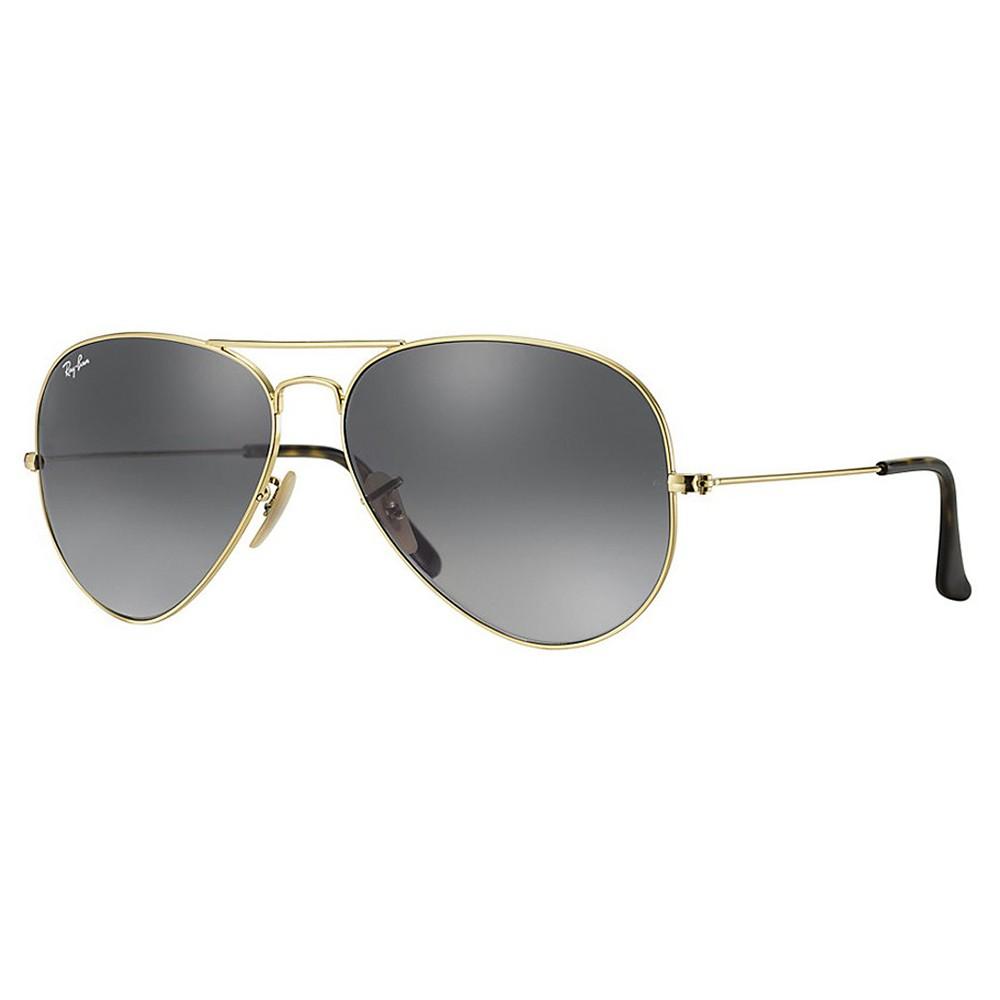 5969e09c5a2ac Óculos de Sol Ray-Ban Aviador Armação Metal Dourado Lente Preta Degradê Com  Plaquetas 0rb3025l181 ...