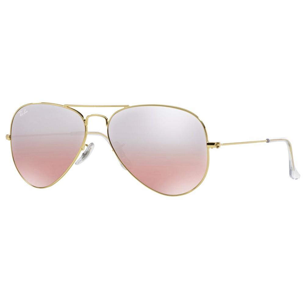 c8939ddbac990 Óculos de Sol Ray-Ban Aviador Armação Metal Dourada Lente Rosa Degradê Com  Plaquetas 0rb3025l001 ...