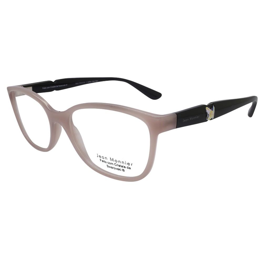 e5153570d9f67 Óculos de Grau Jean Monnier Quadrado Acetato Bege Aro Fechado Sem Plaquetas  0j83169b f561 52 ...