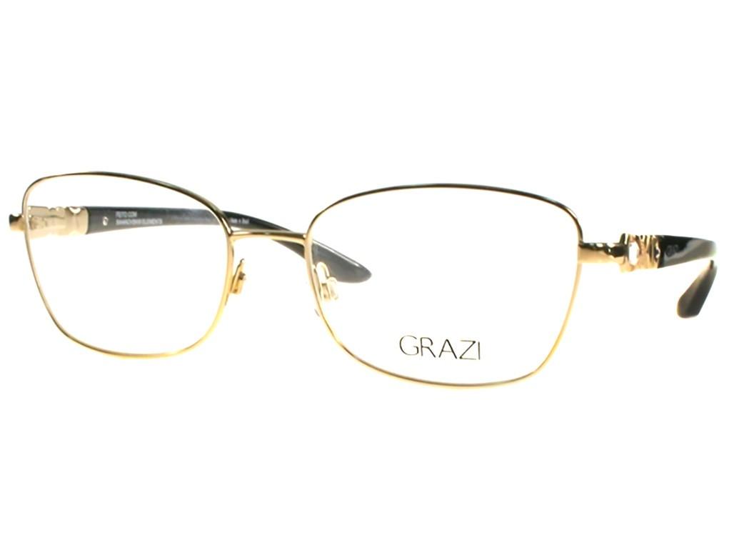 7ba973f6abb6e Óculos de Grau Grazi Massafera Retangular Metal Dourada Aro Fechado Com  Plaquetas 0gz1002b d395 53