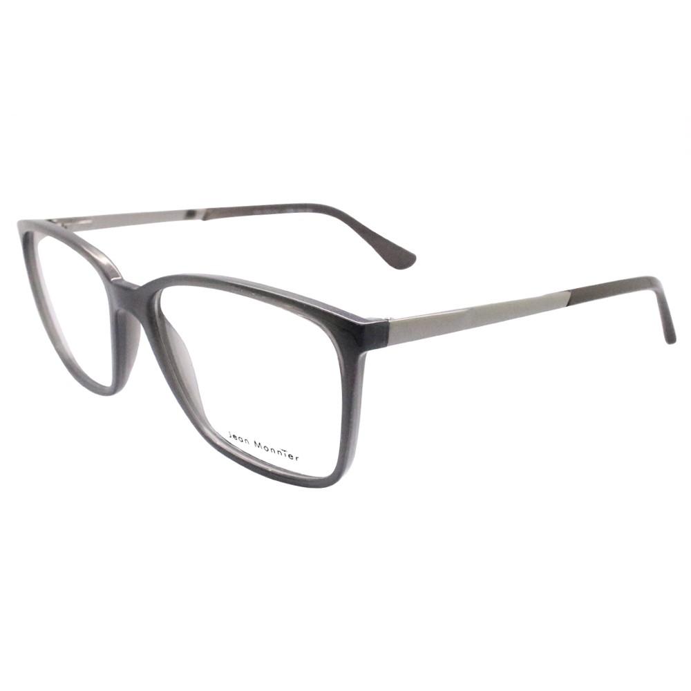 bb0b0b3e7593e Óculos de Grau Jean Monnier Quadrado Acetato Cinza Aro Fechado Sem  Plaquetas 0j83158 e736 55 ...
