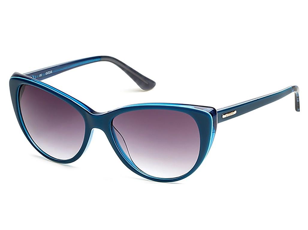40033229b0d75 Óculos de Sol Guess Gatinho Armação Acetato Azul Lente Rosa Degradê Sem  Plaquetas gu7427 5790b ...