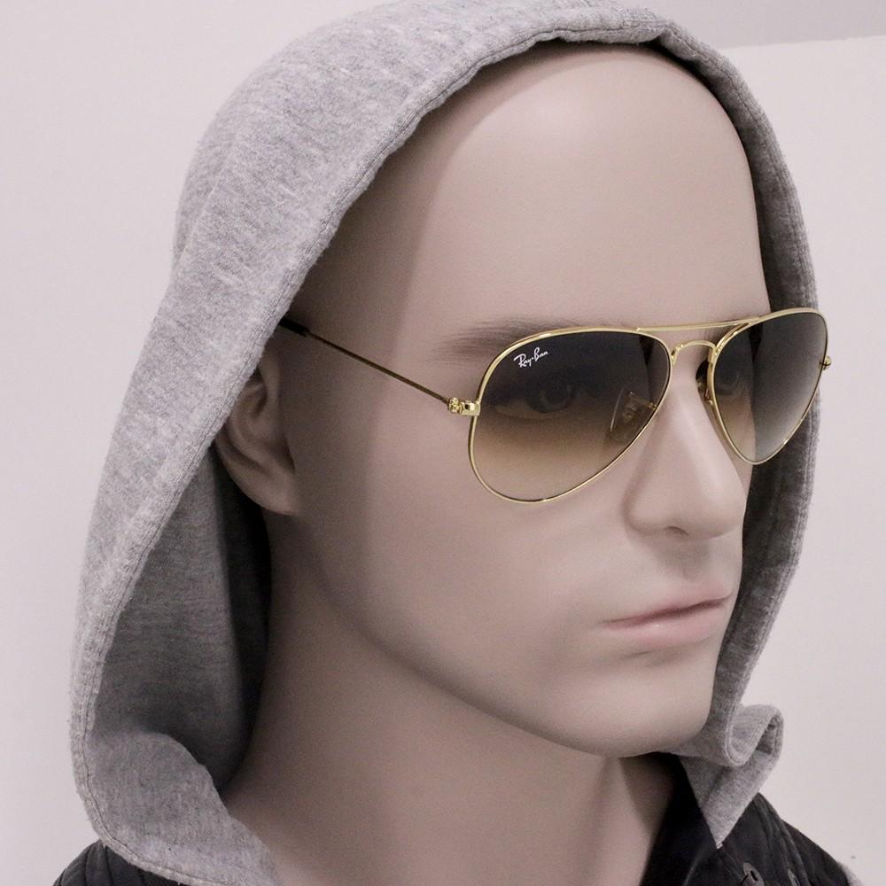 ... Óculos de Sol Ray-Ban Aviador Armação Metal Dourado Lente Marrom  Degradê Com Plaquetas 0rb3025l ... 6a88092ec8