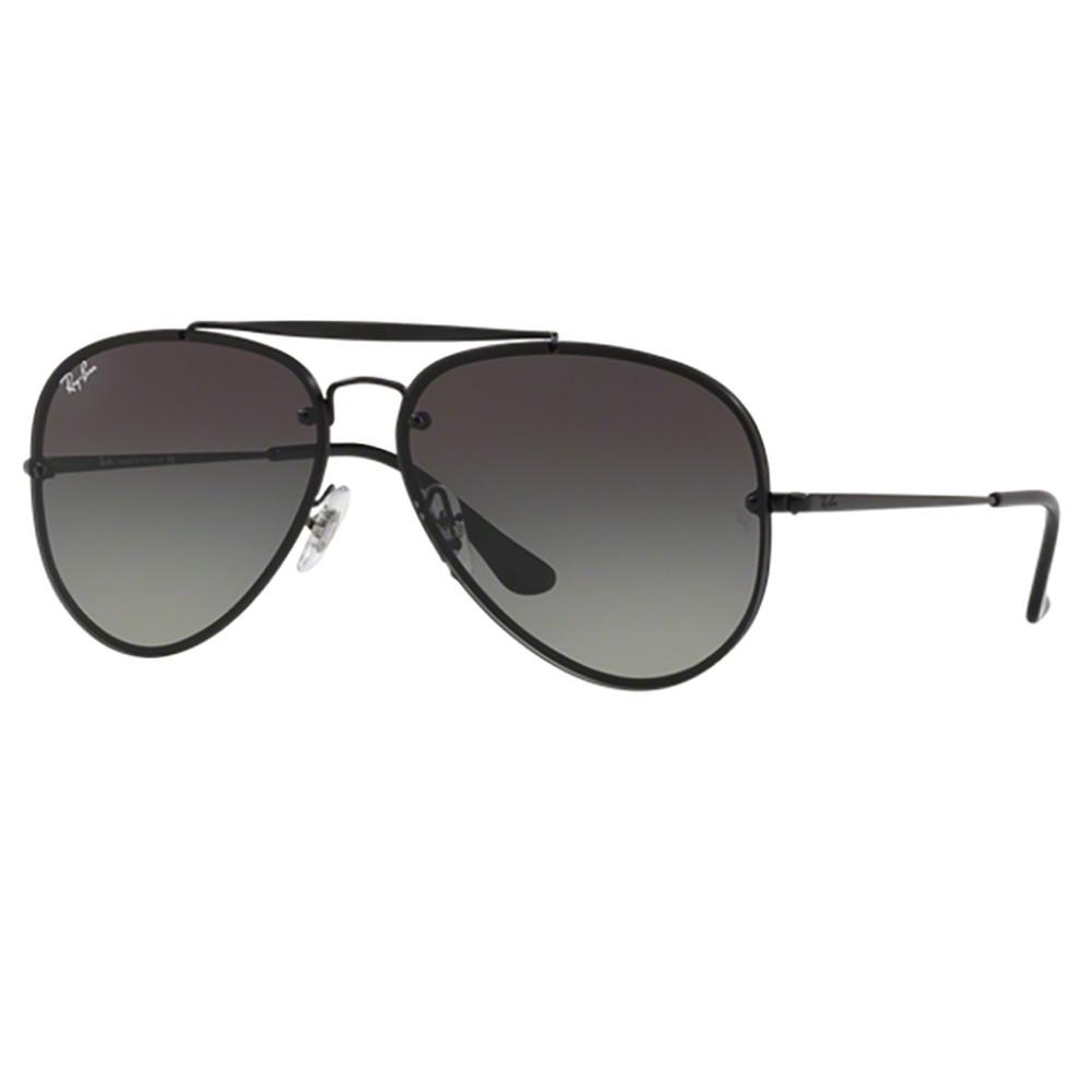 5e14c2d790294 Óculos de Sol Ray-Ban Aviador Armação Metal Preto Lente Preta Degradê Com  Plaquetas rb3584n ...