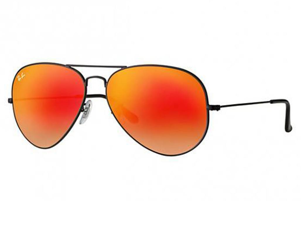 bc79dc306118e Óculos de Sol Ray-Ban Aviador Armação Metal Preta Lente Vermelha Espelhada  Com Plaquetas 0rb3025l002