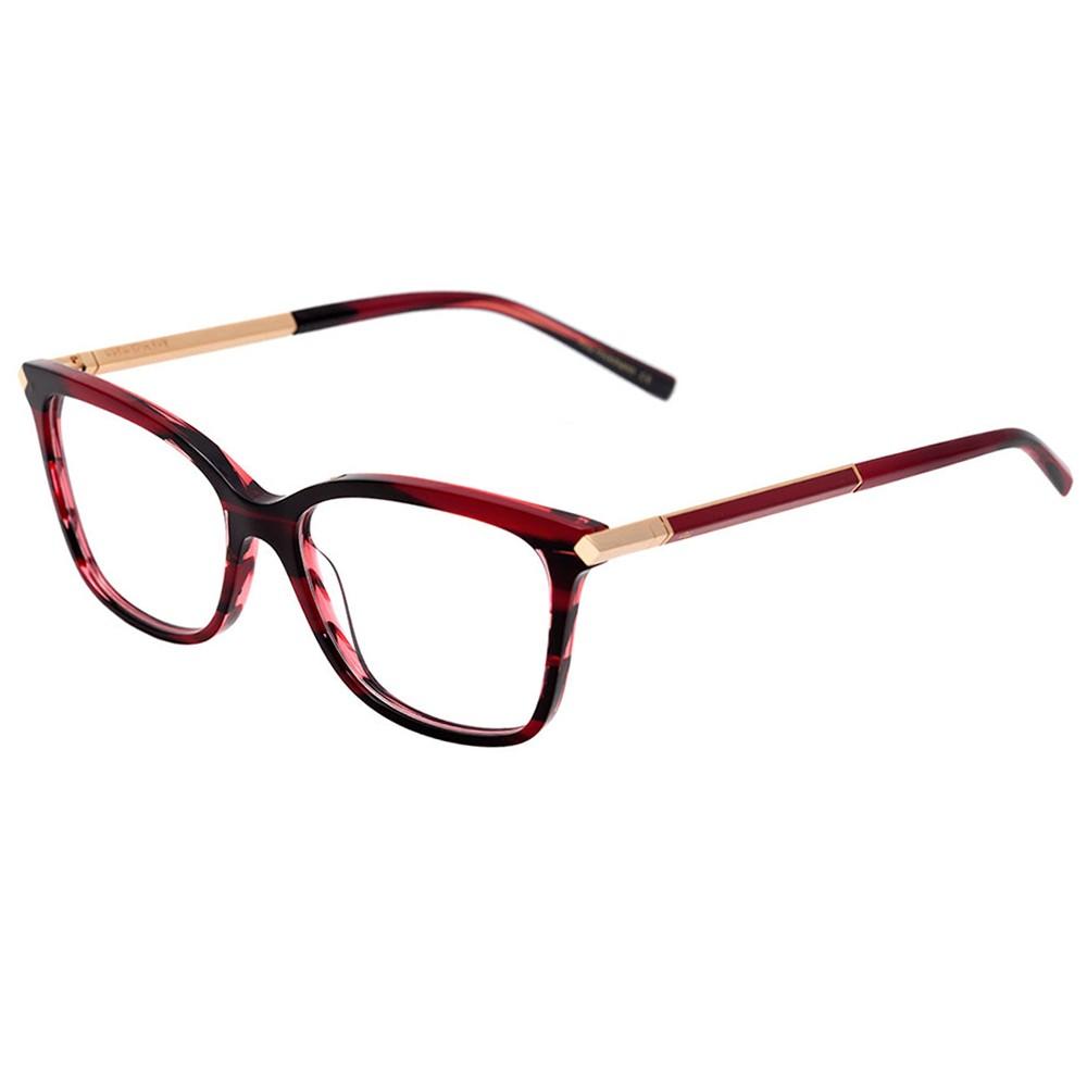 430c54dc6d63d Óculos de Grau Ana Hickmann Quadrado Acetato Vermelha Aro Fechado Sem  Plaquetas AH6292 E02 ...