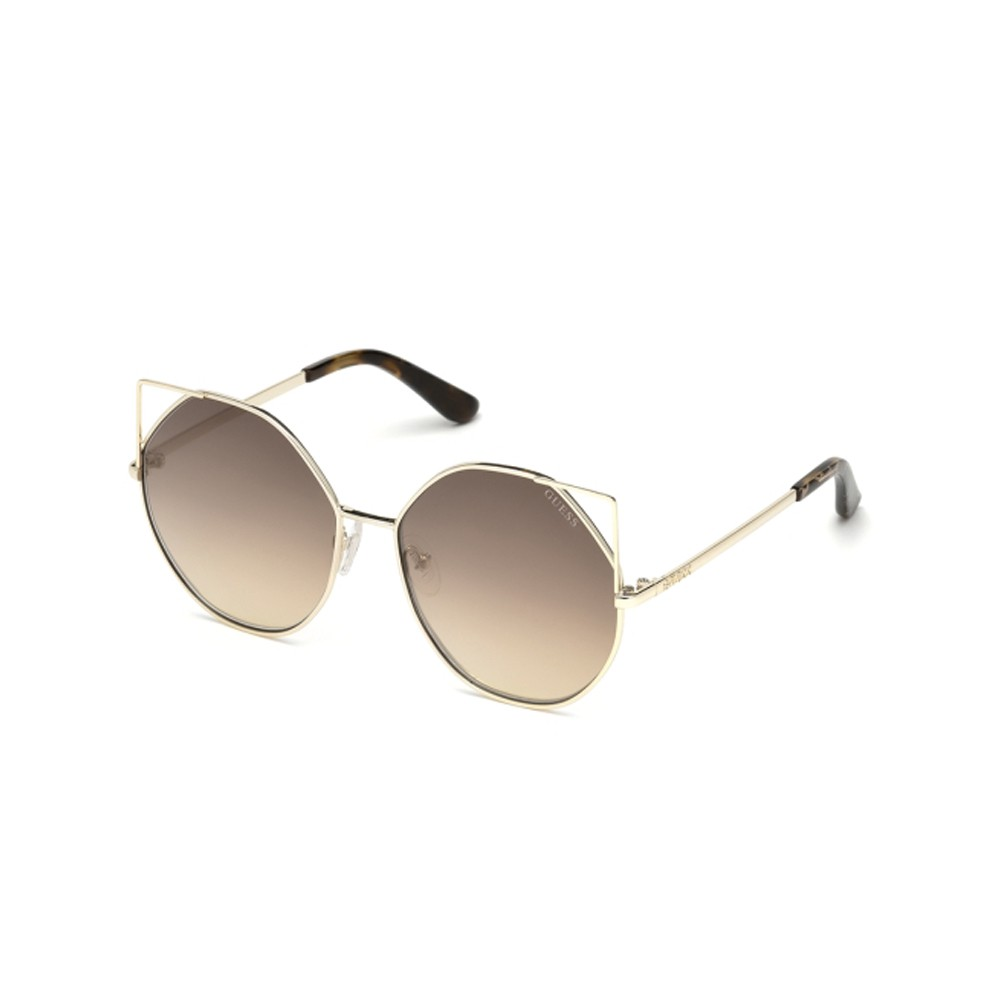 d779ada09a7b1 Óculos de Sol Guess Gatinho Armação Metal Dourada Lente Marrom Espelhada  Com Plaquetas gu7527 5832g ...