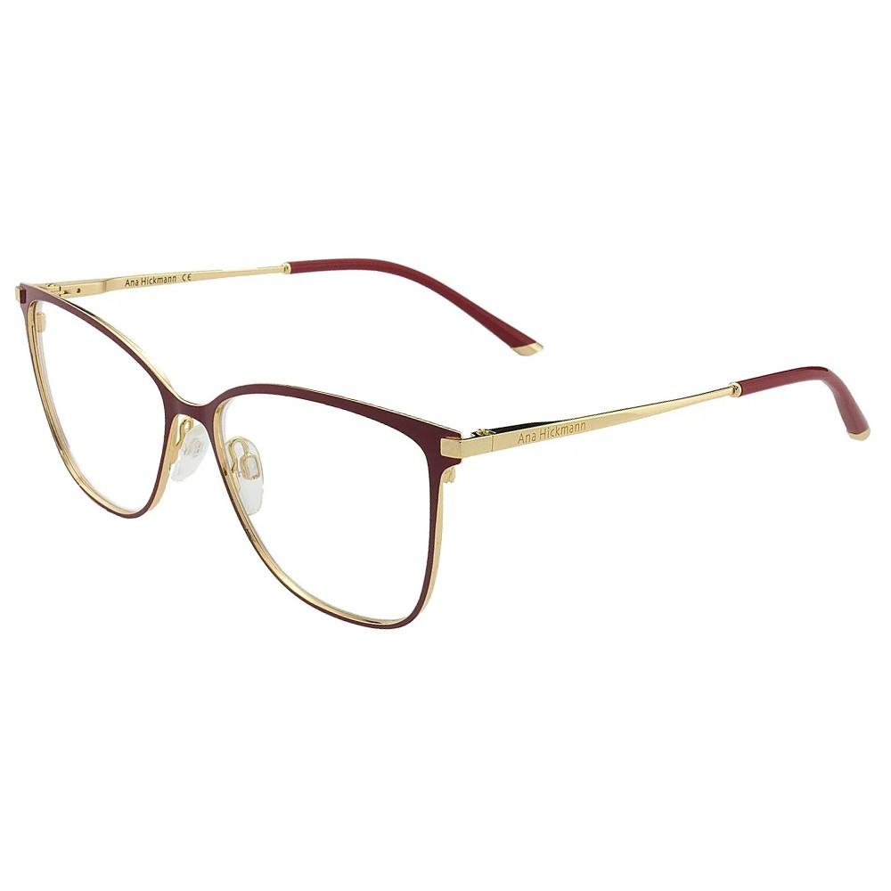 7a6dd014b9295 Óculos de Grau Ana Hickmann Gatinho Metal Vermelha Aro Fechado Com  Plaquetas ah1340 07a ...