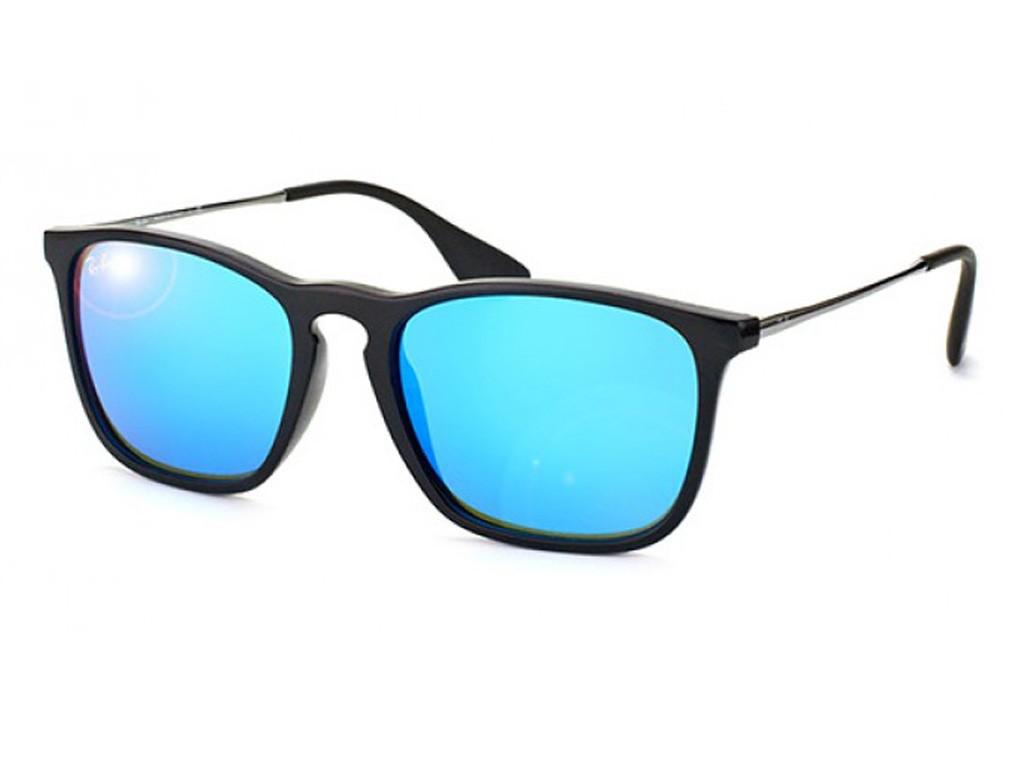 5d8e6e73544b9 Óculos de Sol Ray-Ban Quadrado Armação Acetato Preta Lente Azul Espelhada  Sem Plaquetas 0rb4187l622