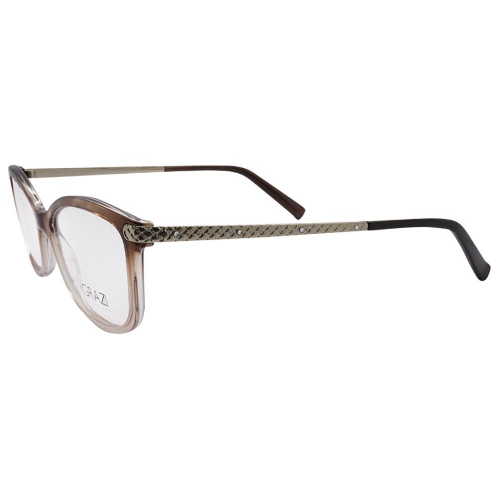 0feeefd338678 Óculos de Grau Grazi Massafera Retangular Acetato Marrom Aro Fechado Sem  Plaquetas 0gz3026b e397 52 ...