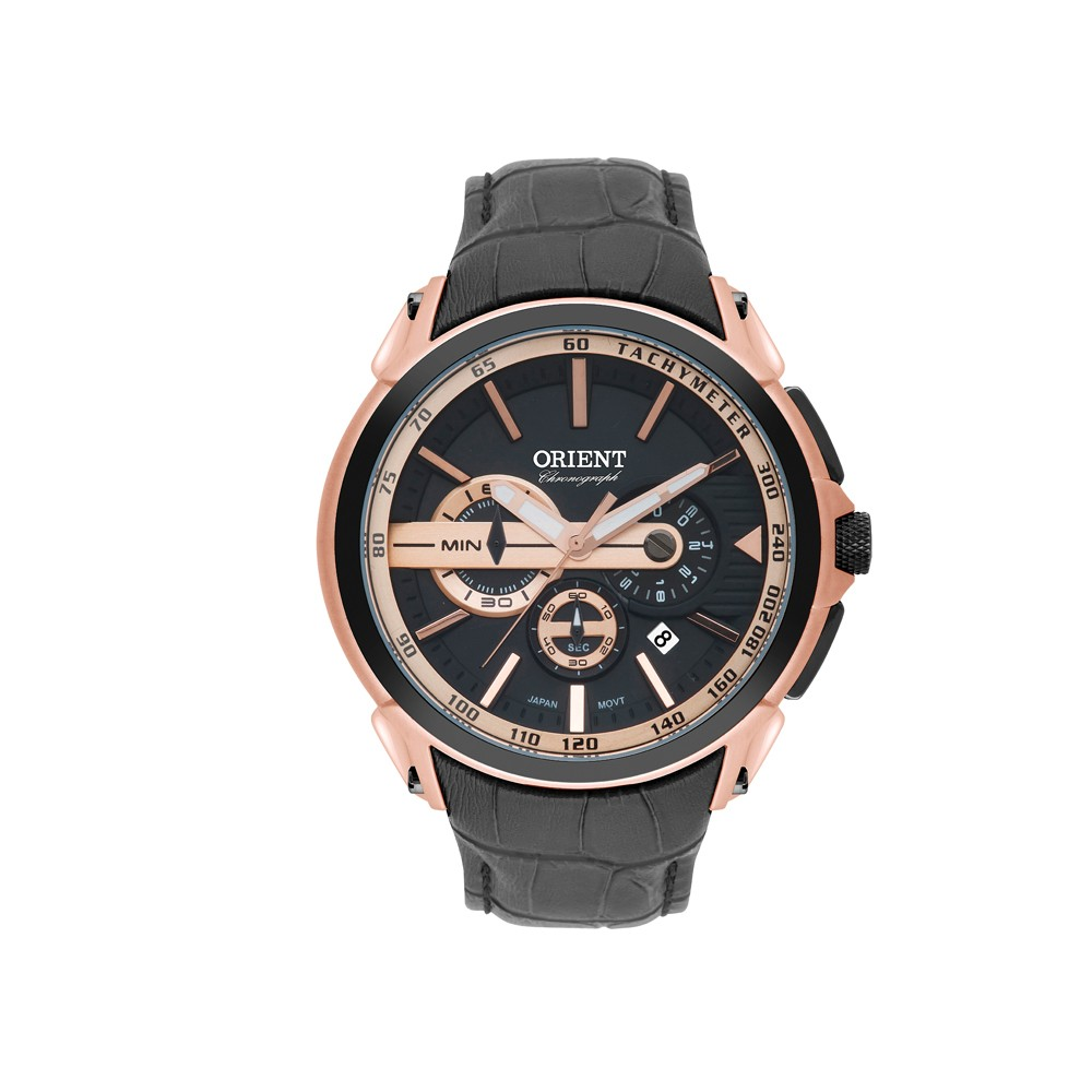 df4216a5fe Relógio Orient Chronograph Caixa Redonda Analógico Metal Rosê Pulseira  Couro Preta mrscc015 p1px Masculino ...