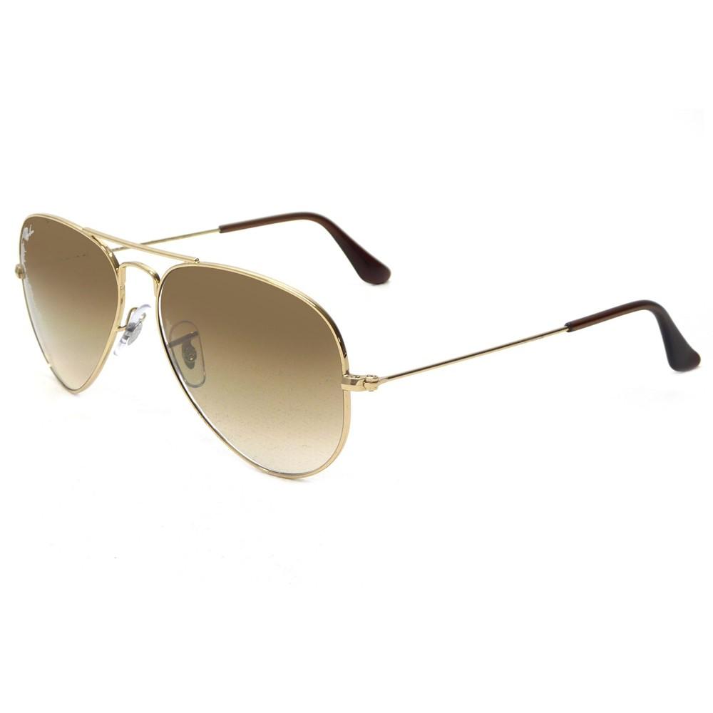 daa2860329d29 Óculos de Sol Ray-Ban Aviador Armação Metal Dourado Lente Marrom Degradê  Com Plaquetas 0rb3025l ...