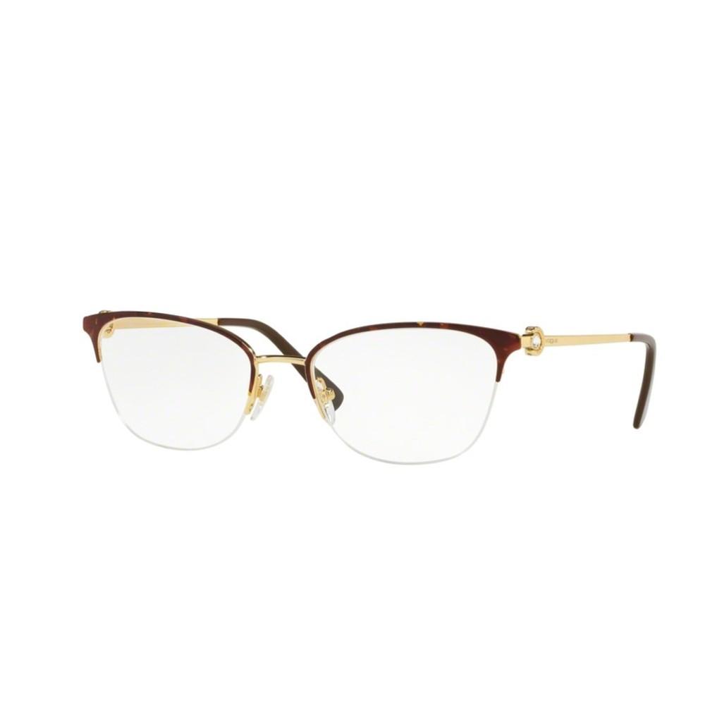 f8ce563bb36e6 Óculos de Grau Vogue Gatinho Metal Tartaruga Aro Aberto Com Plaquetas  0vo4095b 5078 53 ...