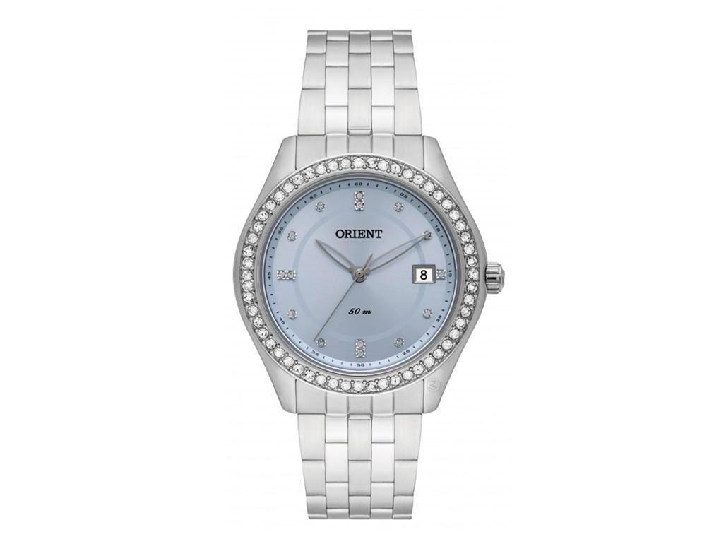a09cb56d9296e Relógio Orient Prata e Azul com Cristais Swarovski Feminino ...