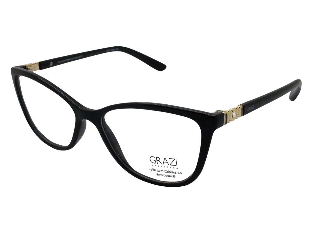 9faa4f5838cbd Óculos de Grau Grazi Massafera Gatinho Acetato Preta Aro Fechado Sem  Plaquetas 0gz3029b e411 52 ...