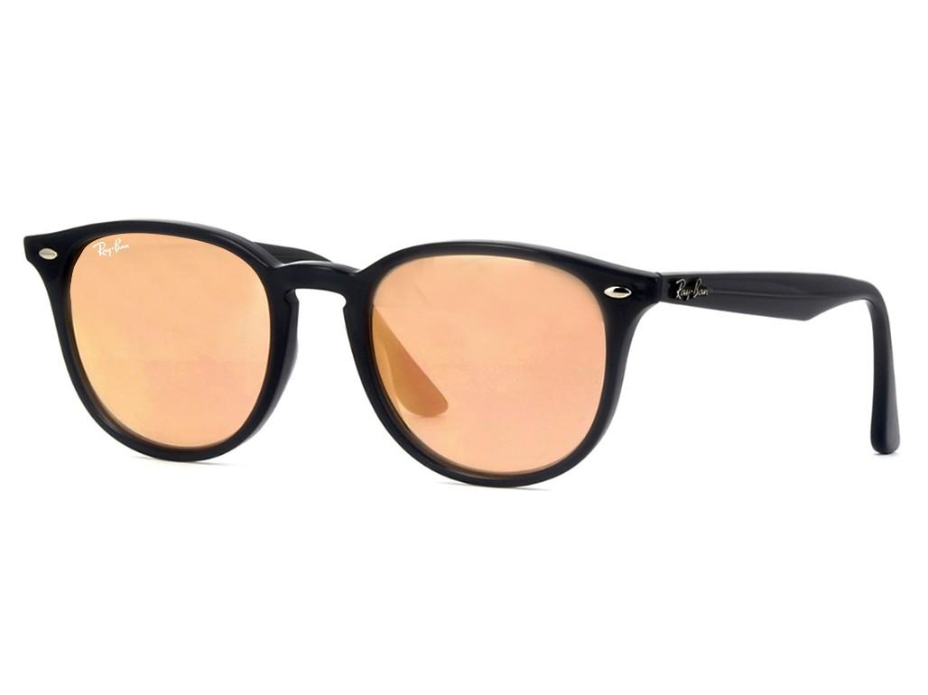 274dd8ef77609 Óculos de Sol Ray-Ban Redondo Armação Acetato Preta Lente Rosa Espelhada Sem  Plaquetas 0rb425962307j51
