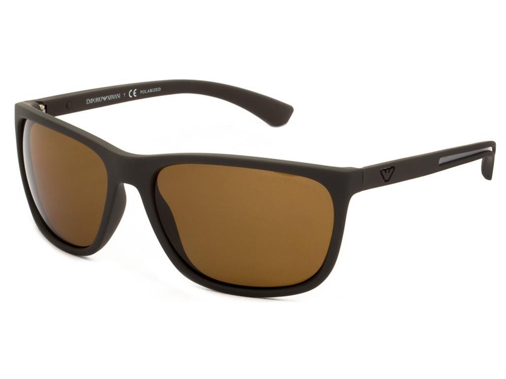Óculos de Sol Emporio Armani Retangular Armação Acetato Marrom Lente Marrom  Polarizada Sem Plaquetas 0ea4078 53058362 8dc9df3d74