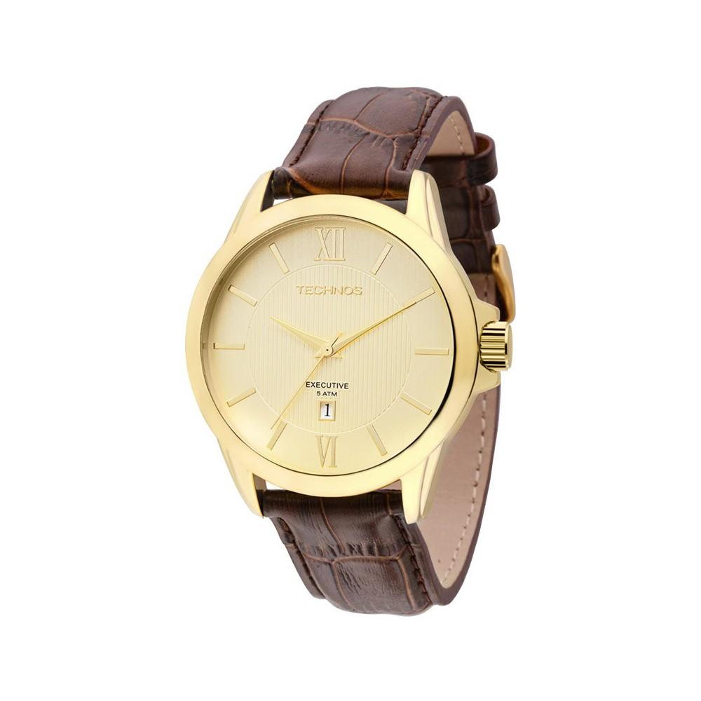 c43b6718360 Relógio Technos Executive Caixa Redonda Analógico Metal Dourada Pulseira  Couro Marrom 2115knh ox ...