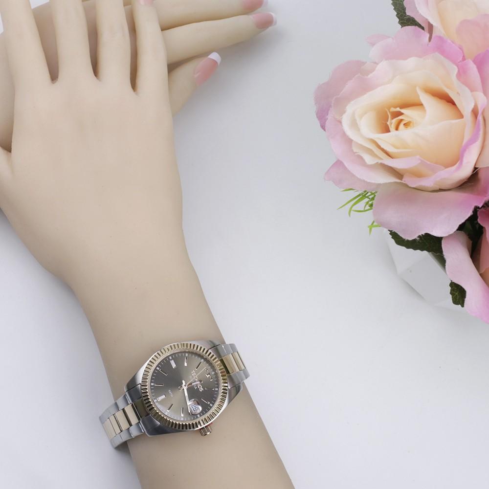 ... Relógio Technos Riviera Caixa Redonda Analógico Metal Rosê Pulseira  Metal Rosê e Prata 2115kts 3m f9c68f376d