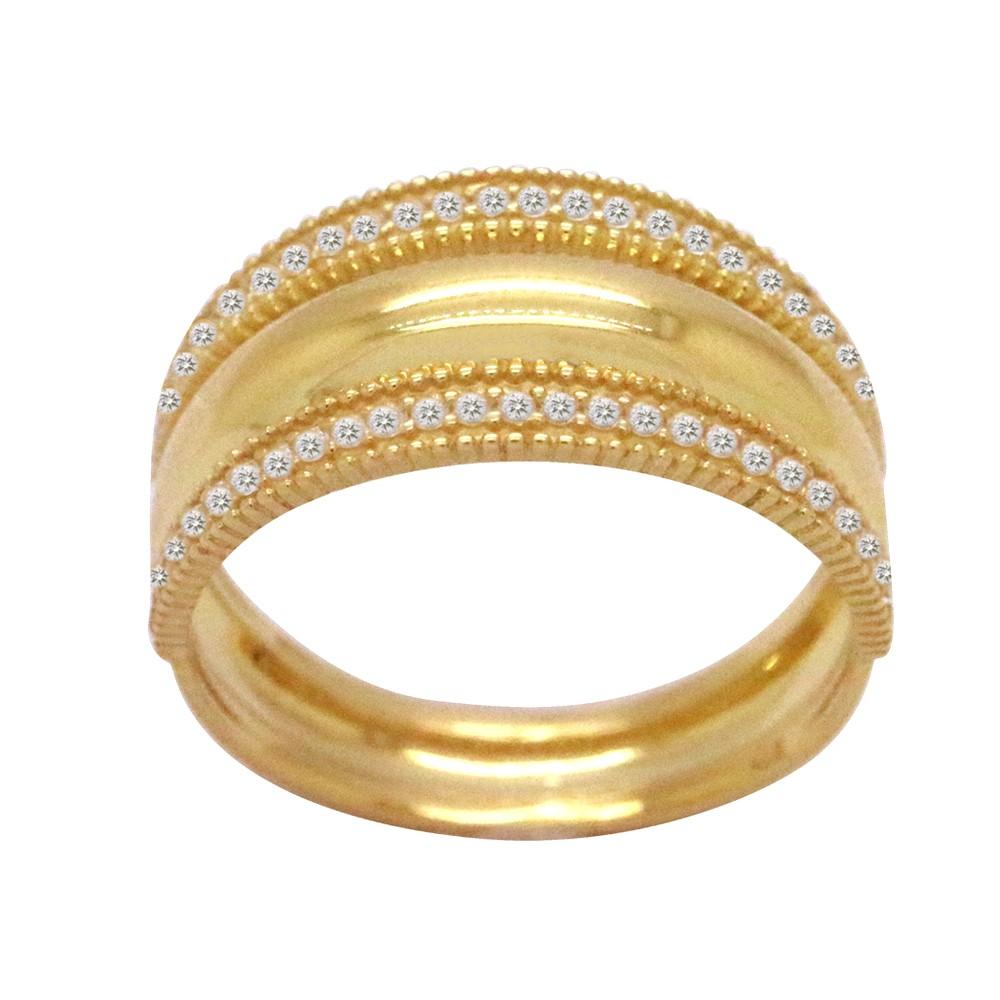 68046e2afaac7 Anel Ouro 18k Amarelo Aro Triplo Estilo Meia Aliança Cravejado Zircônias